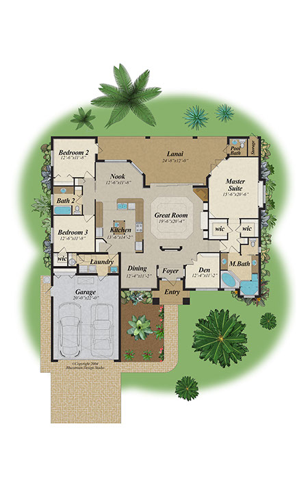 bluestream design studio florida color floor plans | cad floor plan